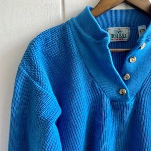 Vintage Henley Knit Pullover Cotton Sweater